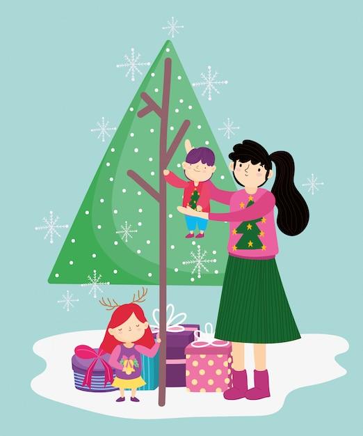 Macierzysty Przewożenie Chłopiec I Córka Z Drzewnymi Prezentami Wesoło Boże Narodzenia, Szczęśliwy Nowy Rok Premium Wektorów