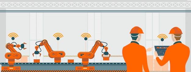 Mądrze Fabryka Z Robotów Robotami I Linii Montażowej Technologii Pojęcia Ilustracją. Premium Wektorów