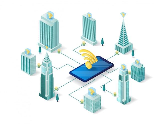 Mądrze Miasto Isometric Ilustracyjny Projekt Premium Wektorów