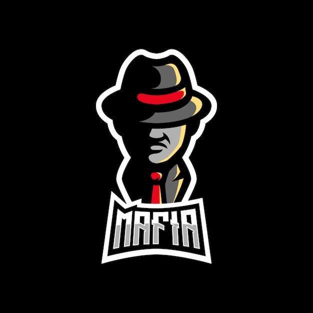Mafia z logo maskotki do grania w kolorze kapelusza Premium Wektorów