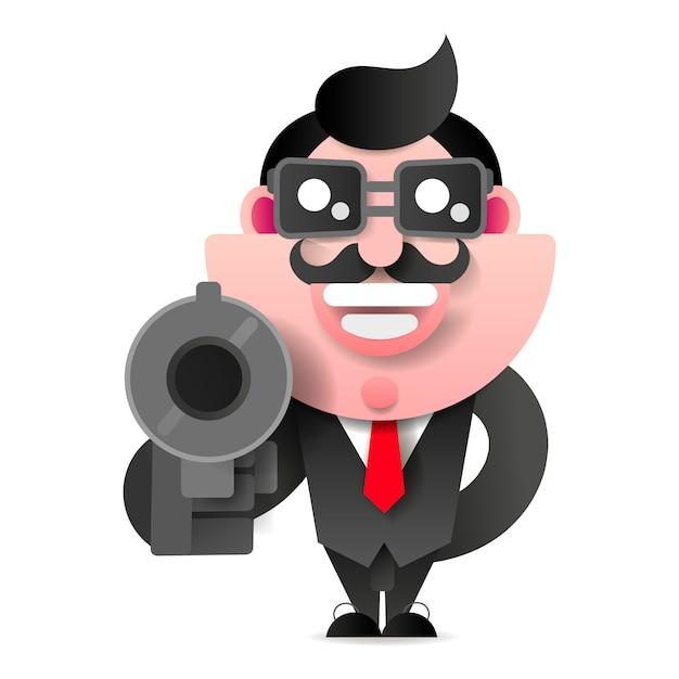 Mafioso Z Pistoletem Premium Wektorów
