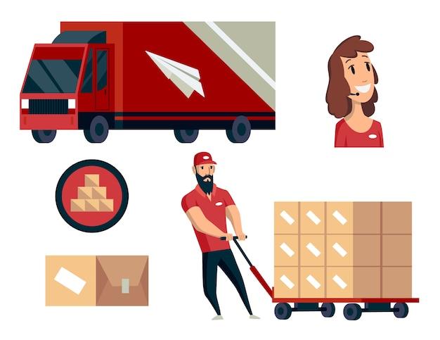 Magazyn. Kolekcja Ilustracji Logistyki. Premium Wektorów