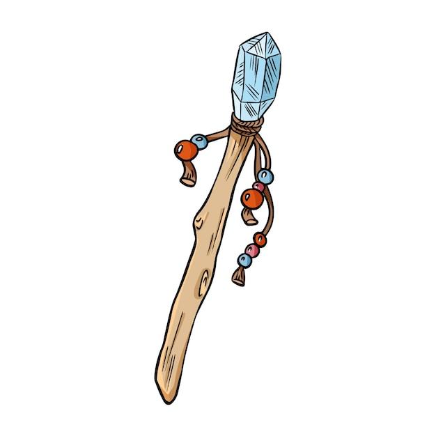 Magiczna różdżka z kryształowym kolorowym doodle Premium Wektorów