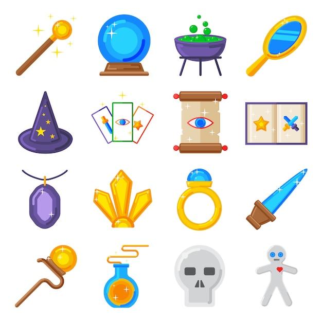 Magiczne ikony kolekcja gwiazd i magiczne ikony znak sztuczki. Premium Wektorów