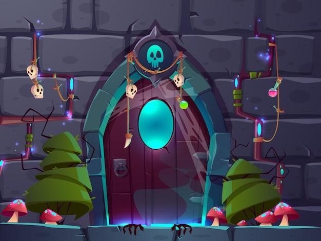 Magiczne wejście lub portal w świecie kreskówek świata fantasy. Darmowych Wektorów