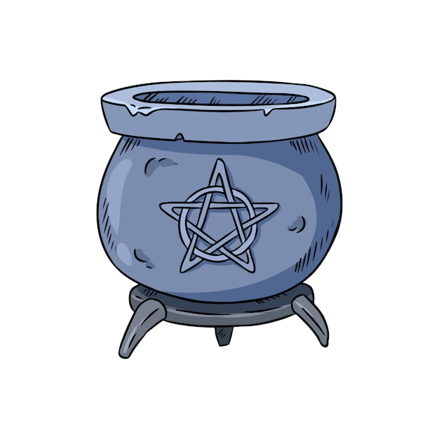 Magiczny kocioł z pentagram doodle Premium Wektorów