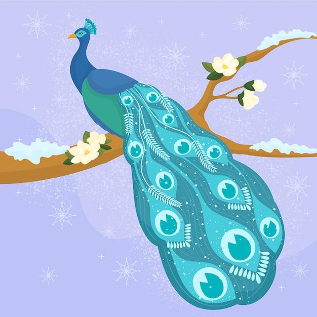 Magiczny pawi ptak Premium Wektorów