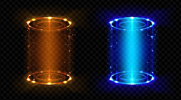 Magiczny Portal Fantasy Futurystyczny Hologram Teleportuje Się Darmowych Wektorów
