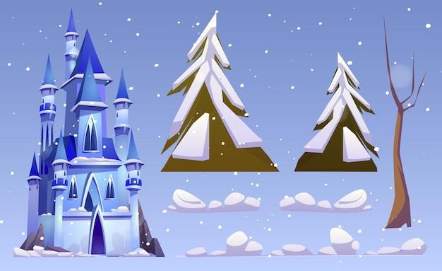 Magiczny Zamek I Elementy Zimowego Krajobrazu Na Białym Tle Darmowych Wektorów