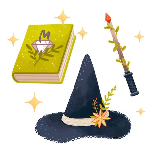 Magiczny Zestaw Z Księgą Czarów, Kapeluszem Czarownicy, Różdżką Premium Wektorów