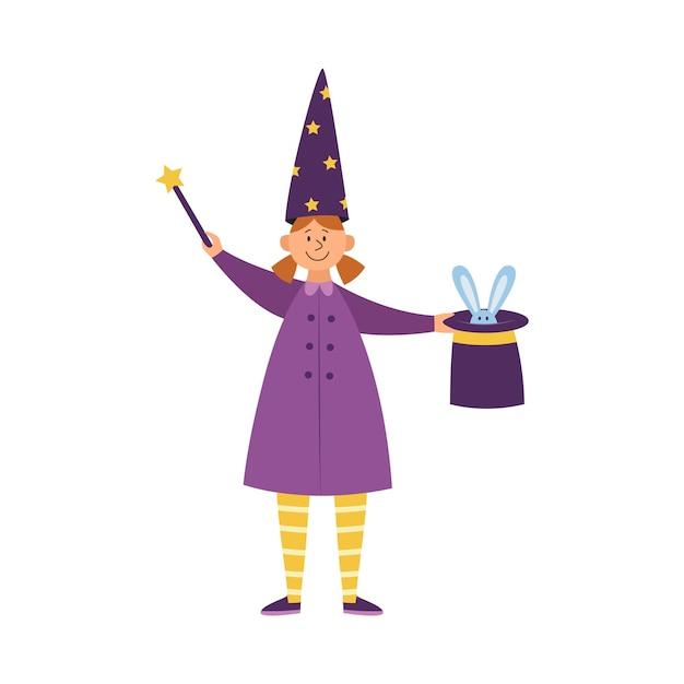 Magik Dziecko Dziewczynka Lub Iluzjonista Wykonujący Magiczną Sztuczkę, Mieszkanie Na Białym Tle. Dziewczyna Z Różdżką I Królikiem W Kapeluszu. Premium Wektorów