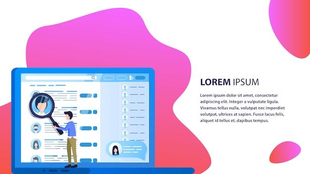 Magnifier man do web search pracownika ekran laptopa Premium Wektorów