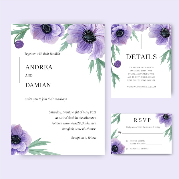 Mak kwiaty akwarela bukiety karta zaproszenie, zapisać datę, zaproszenia ślubne Darmowych Wektorów