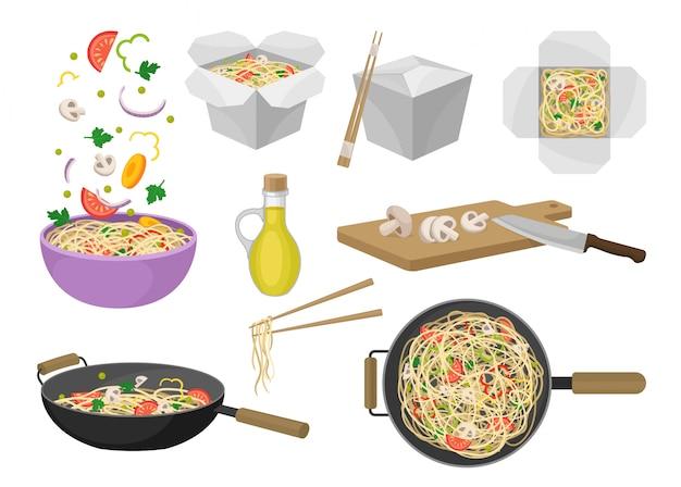Makaron Tradycyjne Orientalne Jedzenie. Ilustracja. Premium Wektorów