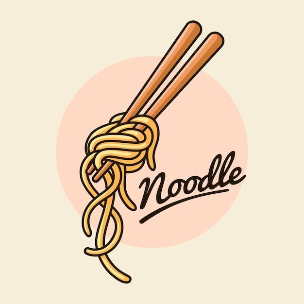 Makaron Z Ilustracji Chopstick Premium Wektorów