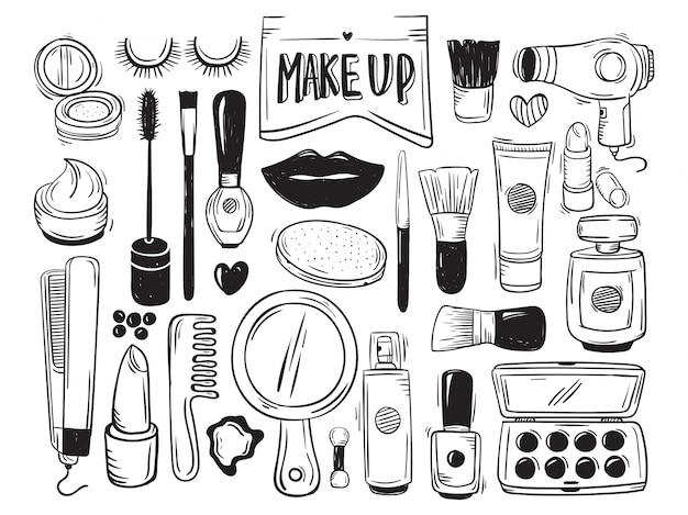 Makeup And Cosmetic Doodle Premium Wektorów