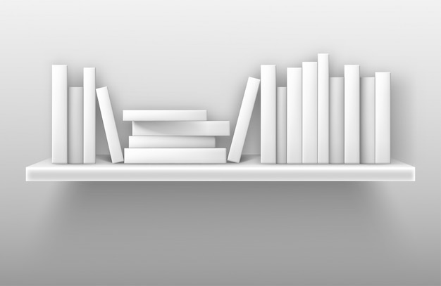 Makieta Biały Regał, Książki Na Półce W Bibliotece Darmowych Wektorów