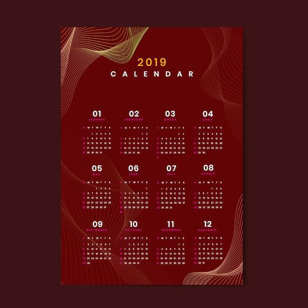 Makieta kalendarza projektu konturu Darmowych Wektorów