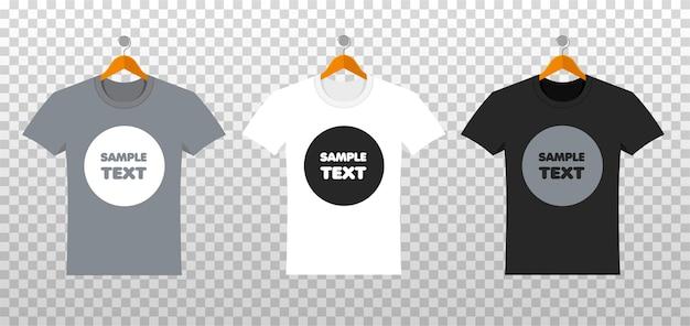 Makieta Koszulek Z Miejscem Na Twój Projekt W Stylu Flat. Letnia Odzież Z Przodu Premium Wektorów