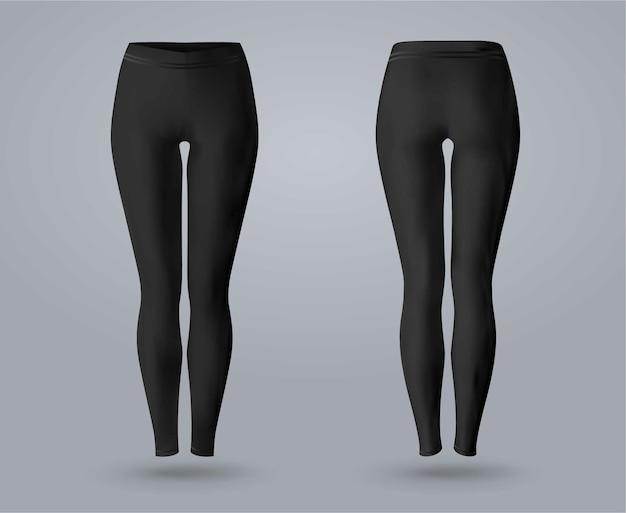 Makieta legginsy damskie z przodu iz tyłu, na białym tle na szarym tle. 3d realistyczne ilustracji wektorowych. Premium Wektorów