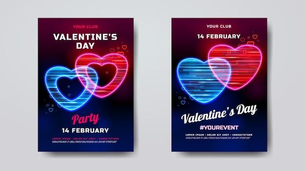Makieta Plakatu Na Walentynki Premium Wektorów