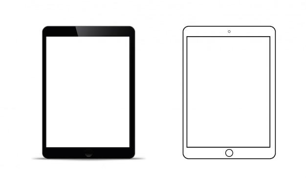 Makieta przed czarną tabletką, która wygląda realistycznie Premium Wektorów