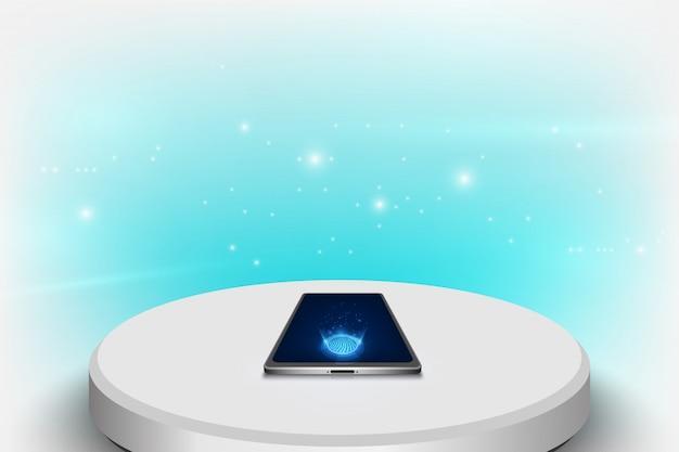 Makieta realistyczny smartphone z futurystyczną koncepcją technologii, abstrakcyjne tło telefonu komórkowego. Premium Wektorów