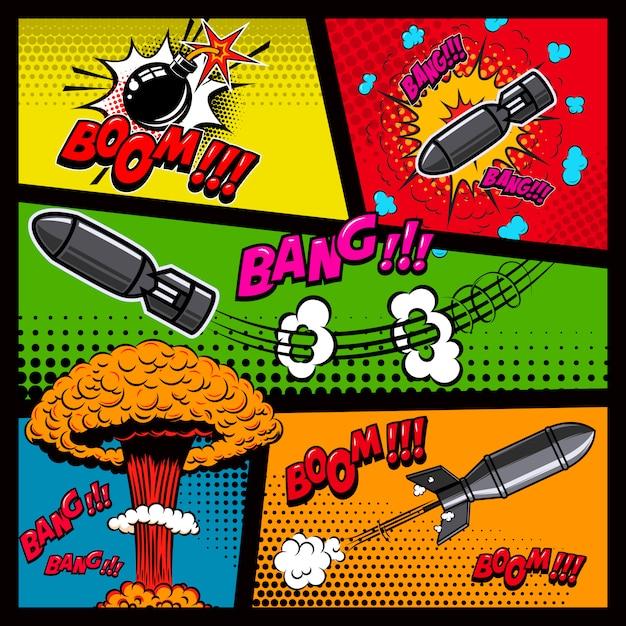 Makieta Strony Komiksu Z Kolorowym Tłem. Bomba, Dynamit, Eksplozje. Element Plakatu, Karty, Druku, Banera, Ulotki. Wizerunek Premium Wektorów