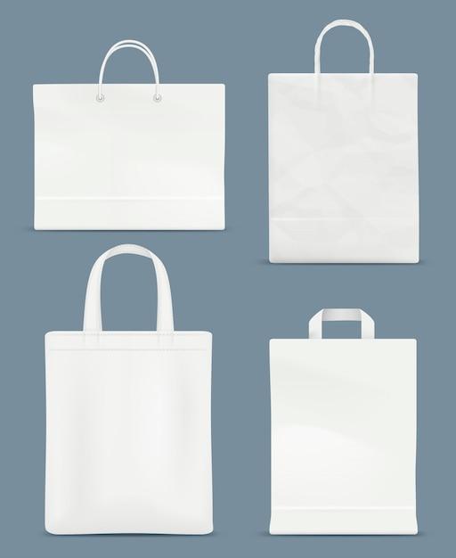 Makieta Torby Na Zakupy. Uchwyt Papierowy Plastikowa Torba Papierowa Premium Wektorów