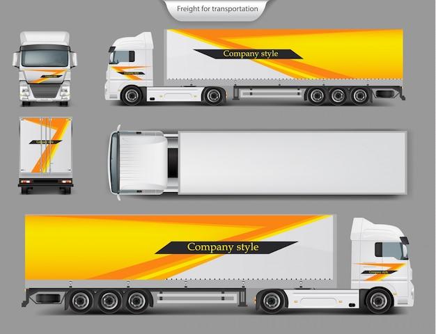 Makiety, projekt szablonu marki dla ciężarówki Darmowych Wektorów