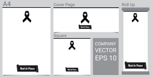 Makiety symbol żałoby z czarną wstążką na białym tle banner Premium Wektorów