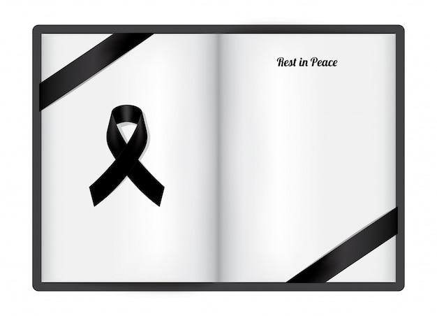 Makiety Symbol żałoby Z Wstążką Black Respect Na Białym Papierze Premium Wektorów