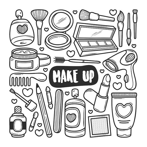 Makijaż Ikony Ręcznie Rysowane Doodle Kolorowanki Premium Wektorów