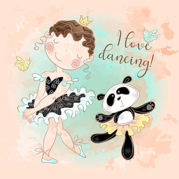 Mała baletnica tańczy z baleriną panda. kocham tańczyć. Premium Wektorów
