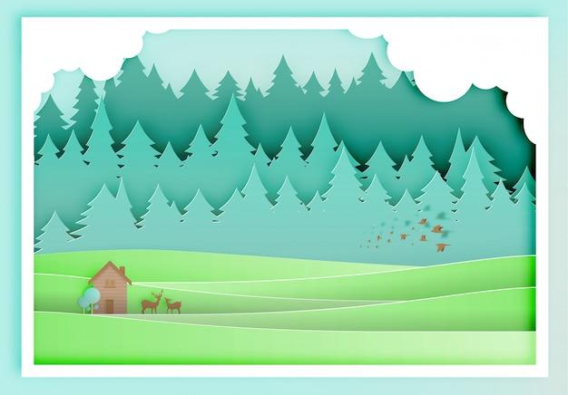 Mała drewnianego domu papieru sztuka z lasowym tłem Premium Wektorów