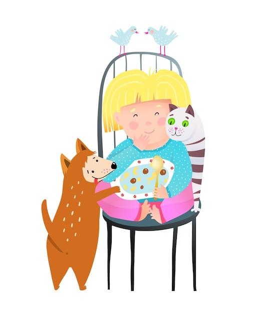 Mała Dziewczynka Dzielenie Jedzenia Razem Z Kotem I Psem Premium Wektorów