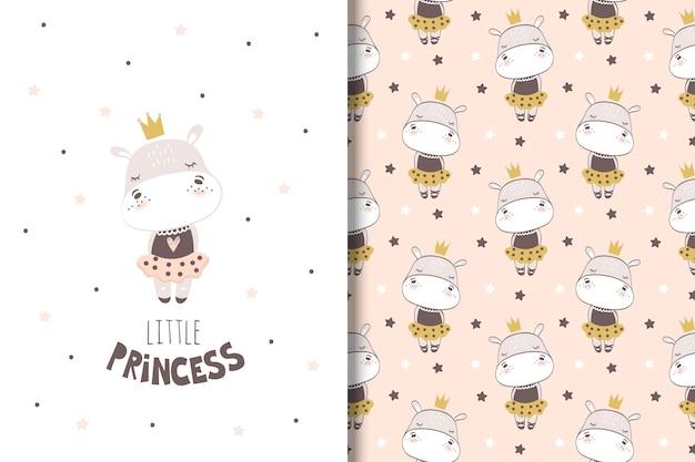 Mała dziewczynka hipopotam karta i wzór dla dzieci Premium Wektorów