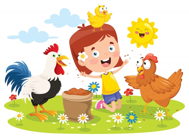 Mała dziewczynka karmi koguta, kurczaka i kurczątka Premium Wektorów