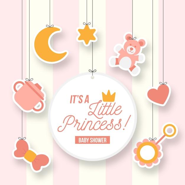 Mała Dziewczynka Księżniczka Baby Shower Darmowych Wektorów