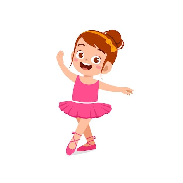 Mała Dziewczynka Nosić Piękny Kostium Baleriny I Tańczyć Premium Wektorów