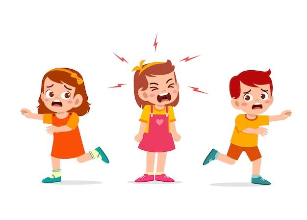 Mała Dziewczynka Płacze I Krzyczy Tak Głośno, że Jej Przyjaciółka Ucieka Premium Wektorów