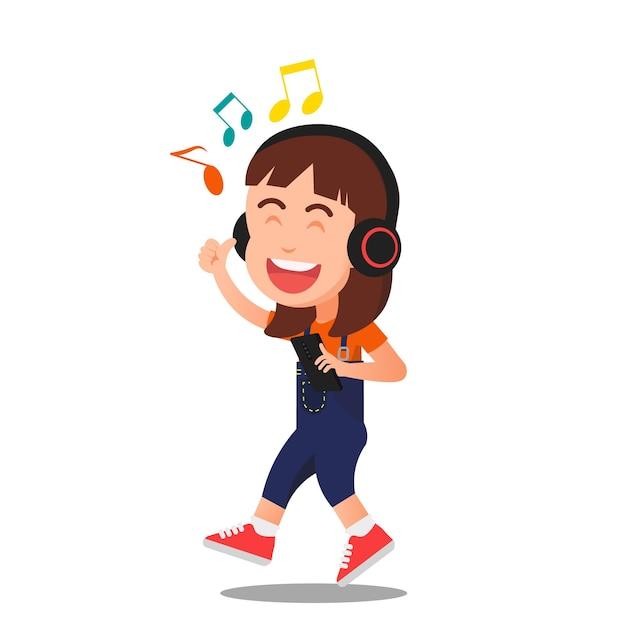 Mała Dziewczynka Radośnie Słuchająca Muzyki Premium Wektorów