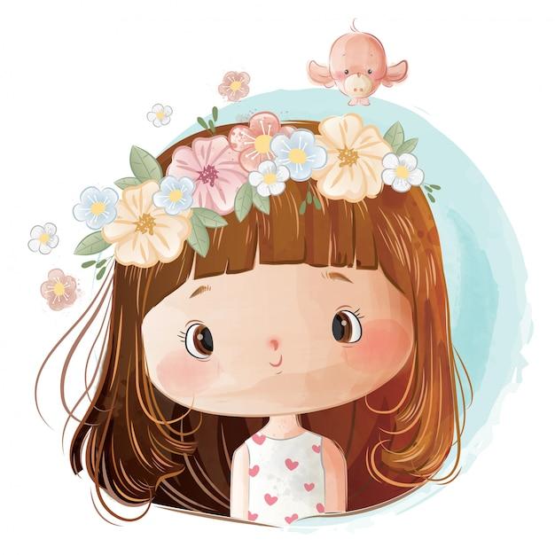 Mała Dziewczynka Sobie Wieniec Kwiatów Na Głowie Premium Wektorów