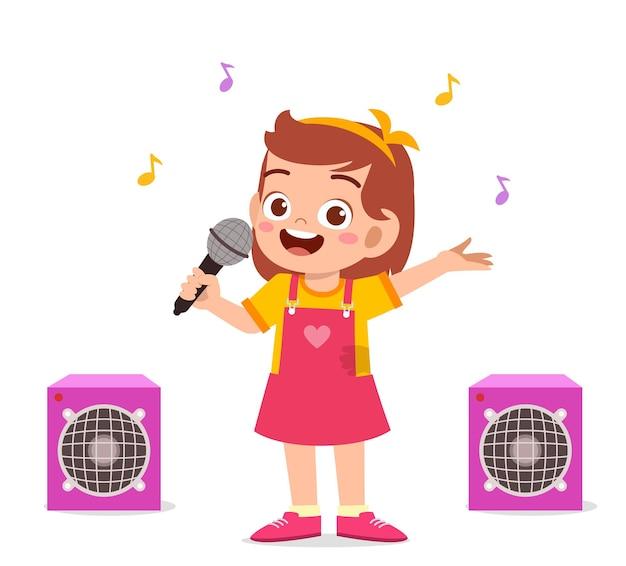 Mała Dziewczynka śpiewa Piękną Piosenkę Na Scenie Premium Wektorów