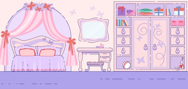 Mała dziewczynka sypialni bajki wnętrza płaski wektor Premium Wektorów