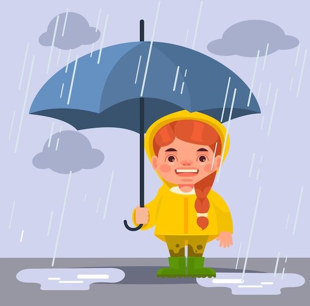 Mała Dziewczynka W Deszczu. Kreskówka Premium Wektorów