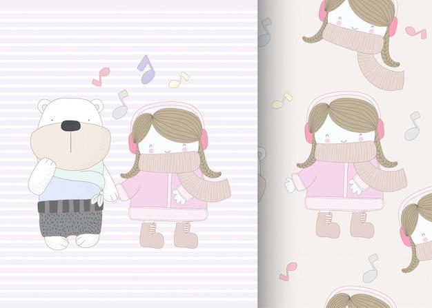 Mała Dziewczynka Z Niedźwiedzia Wzór Premium Wektorów