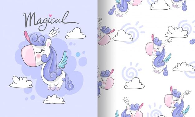 Mała jednorożec na niebo bezszwowej deseniowej ilustraci dla dzieciaków Premium Wektorów
