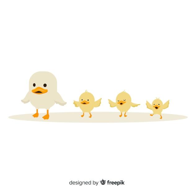 Mała kaczka matka i kaczątka Darmowych Wektorów