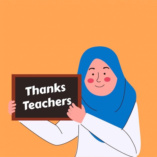 Mała muzułmańska dziewczynka trzymała znak z podziękowaniami dla nauczycieli Premium Wektorów